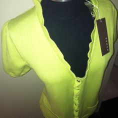 KENAR V Neck Cardigan in Lime Green NWT Size L KENAR V Neck Cardigan in Lime Green with embellished buttons NWT Size L KENAR Tops