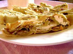 Sfogliata ai funghi, di impasto sottile, senza burro e senza lievito, con un gustoso ripieno di funghi, tonno e philadelphia.