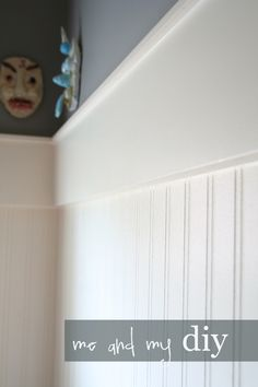 Bead board wallpaper with molding
