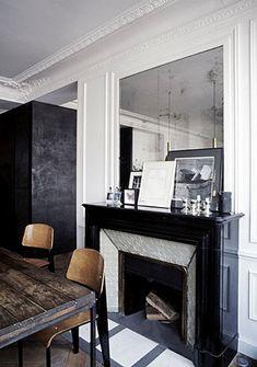 Joseph Dirand {black and white dining room} Home Interior Design, Interior Architecture, Interior Decorating, Interior And Exterior, Home Living, Living Spaces, Black And White Dining Room, Black White, Joseph Dirand