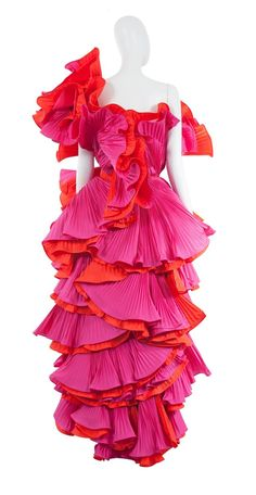 Roberto Capucci pink and red pleated gown, circa 1985 | From a collection of rare vintage evening dresses and gowns at https://www.1stdibs.com/fashion/clothing/evening-dresses/