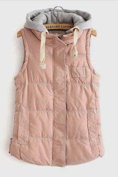 Padded Blush vest with with drawl string detachable grey hood--sz XL (true size M-L) on Etsy, $45.00
