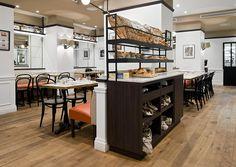 Eric Kayser Bakery: Russian White Oak, Rustic Grade, Antiqued & Distressed, Fumed, Hardwax Oil Natural Tint, Random Plank Width.