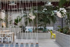 rope screen divider coming just out of conrete pyramidal shapes topped with wood...simple and easy