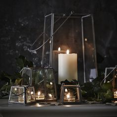 Nordic Mini Lantern | The White Company. Shopping from the US? -> http://us.thewhitecompany.com/Home-%26-Bath/Candle-Holders/Nordic-Mini-Lantern/p/CAHMN?swatch=Gray