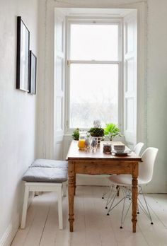 Home Decor For Small Spaces .Home Decor For Small Spaces Small Dining, Dining Area, Dining Room, Narrow Dining Tables, Dining Corner, Dining Chairs, Corner Seating, Kitchen Corner, Eames Chairs