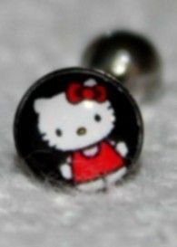 HELLO KITTY 14G Tongue Ring (Black) Standing U.S. SELLER --FREE SHIPPING--