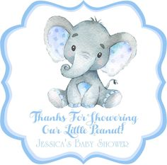 Blue Elephant Baby Shower Stickers Or Favor Tags Blue Elephant Baby Shower Stickers Or Favor Tags – Party Beautifully Peanut Baby Shower, Baby Shower Niño, Baby Shower Favors, Baby Shower Themes, Shower Ideas, Recuerdos Baby Shower Niña, Baby Elefant, Teddy Bear Baby Shower, Baby Shower Decorations For Boys