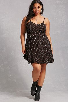 Forever 21+ - A textured woven dress featuring an allover floral print, a scoop neck, cami straps, a lace-up self-tie back design, and a swing silhouette.<p>- This is an independent brand and not a Forever 21 branded item.</p>