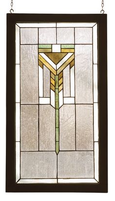 Description: This simple and handsome Prairie pattern of AvocadoGreen, Bark Brown and Wispy Beige adorn a Clear seedyglass window. The window is handcrafted utilizing thecopperfoil construction proces