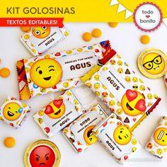 Kits para imprimir etiquetas de golosinas de Emojis Cute Emoji, Ideas Para Fiestas, Party Emoji, Cool Stuff, Birthday, Party Favors, Souvenir Ideas, Ideas Party, Birthdays