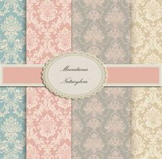 Wall Paper for Dollhouse Collection Damascos Chic. Digital Download. by MiniaturasNatasylvia on Etsy