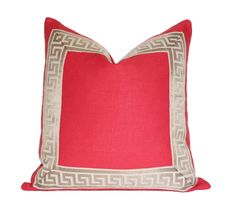 bab8527ac36 Coral with Greek Key Border Pillow Cover Design