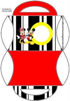 Cajas para imprimir gratis, de Minnie y Mickey.