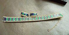 CINER Demi Parure Set Bracelet  Earrings Chevron RS Enamel Flex Snake Peacock