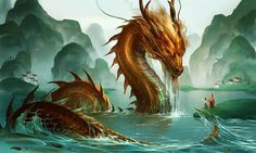 River Dragon - Beautiful piece by *sandara/Deviantart