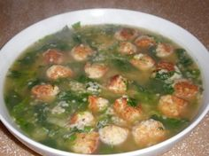 Italian Wedding Soup (you can substitute chicken for the veal/beef and it still comes out great)