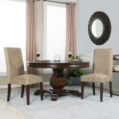 Set of Two Beige Microfiber Parsons Chairs, Tan (Foam)