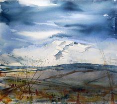 "Akvarell 60 x 50 cm  ""Mountain"" – watercolor S.O. Sivertsen"