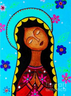 Charlotte's Virgin Guadalupe, virgin ,virgen guadalupe, mama mary, magdalene ,mexican art, artist ,painting religious, saint ,santa, religion,catholic, pristine cartera turkus, prisarts, whimsical flowers, floral ,sale, cool gift ,present, mother, day, anniversary, house design ,HOUSE warming