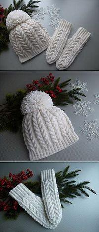 Вязание шапки спицами с косами и помпоном в комплекте с варежками «Белоснежные узоры»