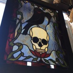Here's another angle of the Raven stained glass window hand made by Connie Grande