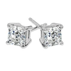Princess Cut 1 ct tw Diamond Stud Earrings