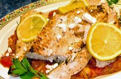 Broiled Mahi-Mahi With Parsleyed Tomatoes and Feta