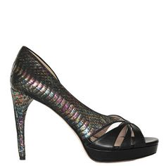 Iridescent snake & black leather two tone scrappy sandals.