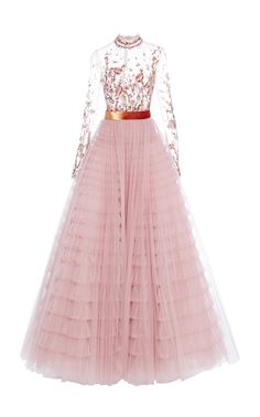 Floral embroidered tulle gown by J. Mendel