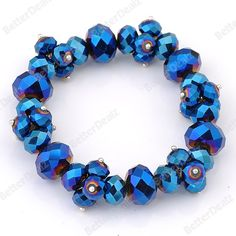 Blue Faceted Crystal Glass Beads Elastic Stretchy Bracelet