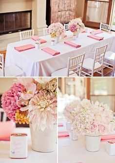 simple blush pink flower arrangements, white table cloth covers, and darker shade pink napkins