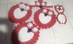 jogo de banheiro luxo coruja dorminhoca.. pink com branco e rosa um luxo... faça ja sua encomenda... 3 peças