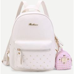 SheIn(sheinside) Studded PU Backpack With Mini Backpack Charm ($23) found on Polyvore featuring women's fashion, bags, backpacks, white, studded mini backpack, studded bag, studded backpack, rucksack bags and day pack rucksack