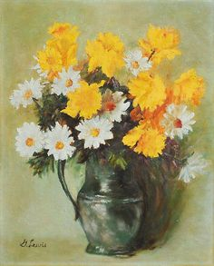 One Kings Lane - Unabashed Color - Daisies in a Pewter Jug