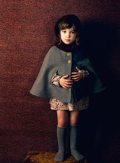 """Gray cape and knee highs...i could try to make this with the little red riding hood pattern in oliver and s """"little things to sew"""" book"""