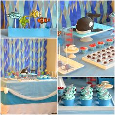 LOVE the cake - could so do that. And then the shark cupcakes. And little octopus cake pops. Cuuuuuuuute