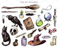 Witching Essentials Watercolor Set by Antler & Twine on Witch Painting, Witch Drawing, Art Sketches, Art Drawings, Crystal Drawing, Bottle Drawing, Witch Cat, Halloween Drawings, Witch Aesthetic