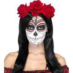 This Day of the Dead headband features faux red roses and is a great accessory for any costume or even a Day of the Dead celebration!
