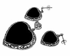 BLACK ONYX EXTRA LARGE HEART Sterling Silver Rim Earrings & Pendant Jewelry Se THE ICE EMPIRE. $59.95. PENDANT SIZE: 46mm. METAL: .925 Sterling Silver. Simply add any Thin Beaded Chain from our Amazon Store for a complete set!. Very Elegant & Classy Jewelry set. EARRINGS SIZE: 27mm. Save 46%!