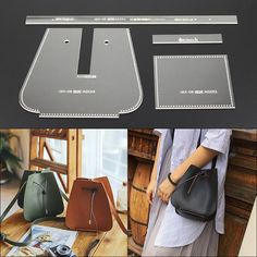 Quality DONYAMY 1 Set Acrylicdiy Female Shoulder Bag Diagonal Bag Leather Template DIY Accessory with free worldwide shipping on AliExpress Mobile Leather Gifts, Leather Bags Handmade, Leather Craft, Leather Wallet, Leather Bag Pattern, Diy Handbag, Leather Projects, Sewing Accessories, Leather Shoulder Bag