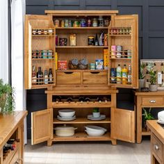 Cheshire Oak Double Kitchen Larder Pantry Cupboard with Wine Rack   The Furniture Market Led Furniture, Furniture Market, Kitchen Larder Cupboard, Oak Sideboard, Kitchen Family Rooms, Large Shelves, Oak Color, Traditional House, Open Shelving