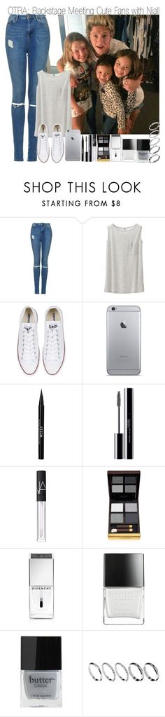 """""""OTRA: Backstage Meeting Cute Fans with Niall"""" by elise-22 ❤ liked on Polyvore featuring Topshop, Uniqlo, Converse, Stila, shu uemura, NARS Cosmetics, Tom Ford, Givenchy, Butter London and ASOS"""