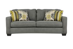 Safia Slate Sofa - Available at Living Spaces www.livingspaces.com I think it's around $300? (not positive. . .) But I just love the grey with the yellow in the colors - GREAT color pallette! - BR