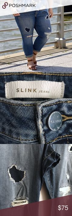 """Distressed Easy Fit Jeans SLINK JEANS /  Distressed Boyfriend Jeans """"Curvy"""" Women's US Plus Size 28 - The """"Easy"""" fit: mid-rise / 26.5"""" inseam - """"Joby"""" medium wash with distressed embellishment on front of pant  - 94% Cotton, 4% Polyester, 2% Spandex ✅ NWOT. Worn once for photos. ✅ NO trades / NO low-balling ✅ List price is fair and highly discounted✌️ Slink Jeans Jeans Boyfriend"""