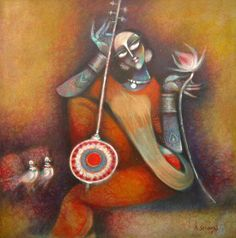 KYNKYNY is an online gallery that showcases a curated selection of original artworks by emerging and established Indian artists at affordable prices. Modern Indian Art, Indian Folk Art, Indian Artist, Modern Art, Contemporary Art, Krishna Painting, Krishna Art, Animal Drawings, Art Drawings