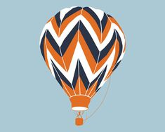 CHOOSE YOUR COLORS!!! Chevron Hot Air Balloon Art Print by nevedobson, 13 x 19 - choose your colors