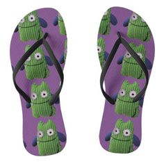#Thongs of green monstruitos in and lilacs flip flops - #womens #shoes #womensshoes #custom #cool