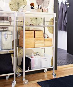 All aboard! Next stop - Gorgeous! Courtesy of a GRUNDTAL trolley for bathroom bits and pieces.