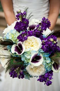 , blue hued Hydrangea, and of course, iridescent peacock feathers Wedding 2015, Wedding Wishes, Dream Wedding, Wedding Ideas, Purple Wedding, Floral Wedding, Wedding Bouquets, Blue Bridal, Prom Flowers